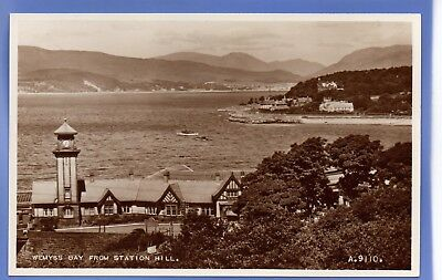 Old Vintage Rp Postcard Wemyss Bay From Station Hill Renfrewshire