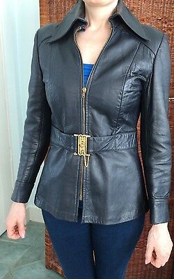 Ladies vintage 1970s dark blue/black leather jacket approx size 8 VGC