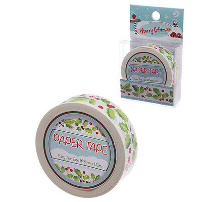 10 Metre Paper Self Adhesive Gift Tape - Christmas Holly