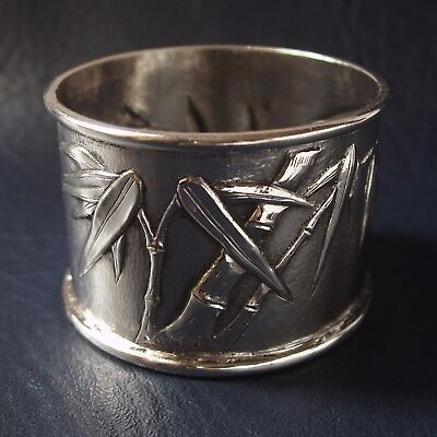 1840-1870 Antique Chinese solid silver napkin ring. Leeching, Canton,Shanghai,HK