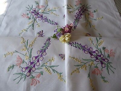 Vintage Hand Embroidered  Linen Tablecloth - Foxgloves&pussy Willow - Exquisite