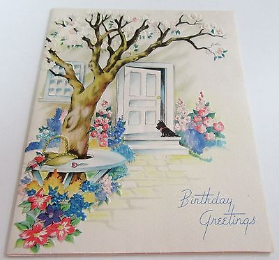 Used Vtg Greeting Card Scottie Dog by Open Front Door by Flowers