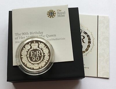 2016 Royal Mint 90th Birthday Silver Proof Piedfort Five Pounds Piece £5 Boxed