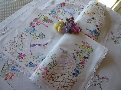 Vintage Hand Embroidered Tablecloth/ Beautiful  Crinoline Ladies & Gardens