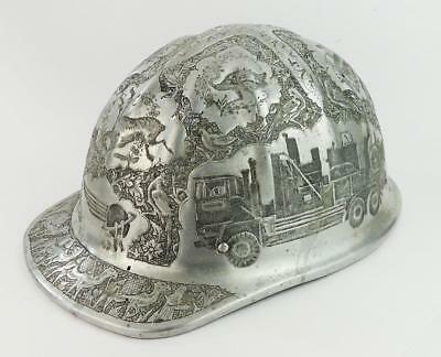 VINTAGE PERSIAN ISLAMIC ALUMINIUM MINE SAFETY HARD HAT c1960's