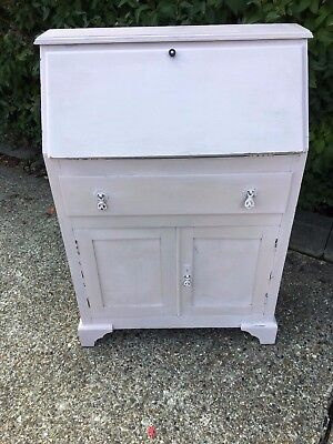 Small Pink Writing Bureau,  drawer and cupboard  Shabby Chic Upcycling Project