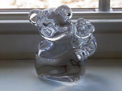 Orrefors Crystal Koala Bear Mama and Cub signed Paperweight Figurine 4 3/4""