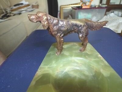 1930.s  Cold Painted Bronze And Onyx Terrier Dog Ashtray
