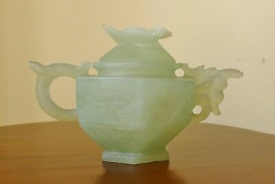 Antique Small Ornate Handcarved Oriental JADE TEAPOT