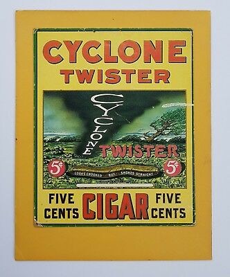 RARE ORIGINAL 1928 CYCLONE TWISTER CIGARS Cardboard Sign Poster FIVE CENTS 5