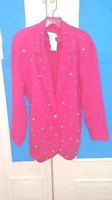 Cache vintage hot pink with pearls blazer jacket Large