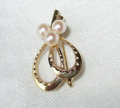 Mikimoto Vintage 14K Yellow Gold Engraved Three Pearl Cluster Pin Brooch