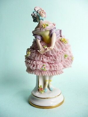 Antique Volkstedt Porcelain Dresden Lace Ballet Dancer.................ref.407