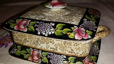 Royal Winton Grimwades Handpainted Rose Butter Dish
