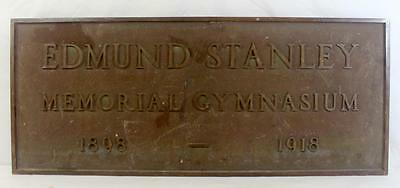 Antique Friends University Edmund Stanley Memorial Gymnasium Plaque 1898 - 1918