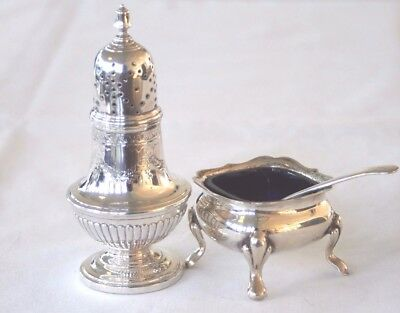 Vintage silver plated pepper pot and mustard