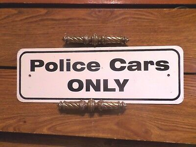 Vintage Police Cars Only Sign -- Old Paint Heavy Gauge Metal