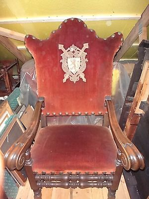 Large Hand Carved Antique Palace Chair