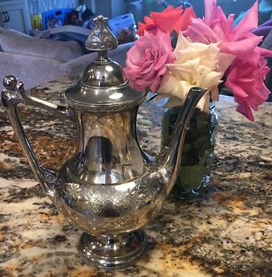 Beautiful Antique Meriden Silver Plate Quadruple Aesthetic Art Nouveau Teapot