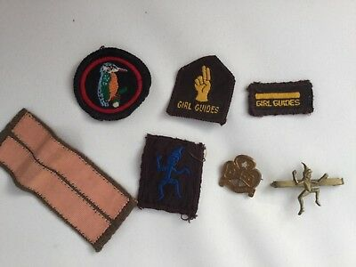 Selection 1960s Girl Guide Badges And Pins including Rare Kingfisher Patch