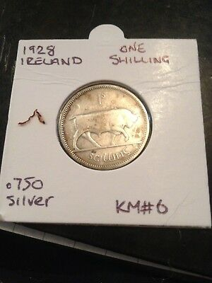 1928 Ireland Silver One Shilling Coin. Km#6 Rare Collectable Coin
