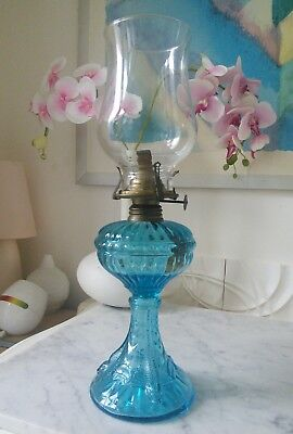 "Vintage Turquoise Glass with Fish Oil Lamp 14 1/2"" High"