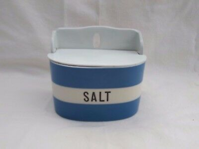 Cornishware T G Green Blue and White Salt Caddy