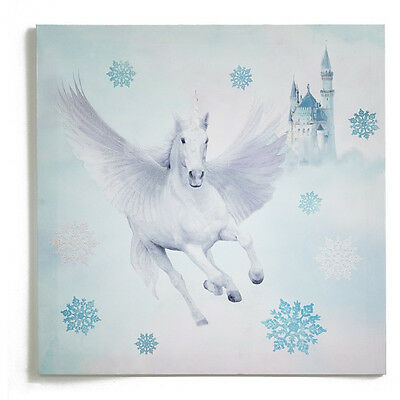 Girls Ice Blue Silver Glitter Unicorn Horse Horses Fairytale Wall Canvas