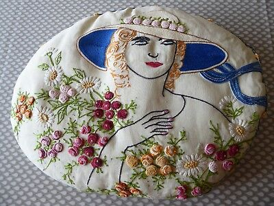 Vintage Hand Embroidered Cushion Cover /beautiful Lady & Superb Embroidery