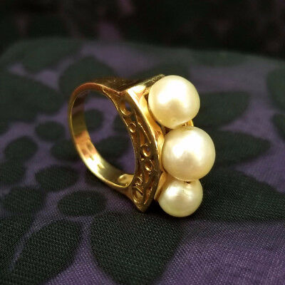 Antique 18K Solid Gold Pearl Ring