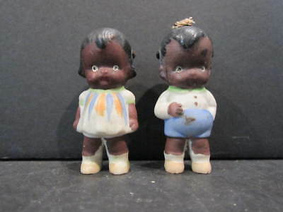 (2) VTG Immobile Bisque Dolls - Black Americana - Boy & Girl - Japan