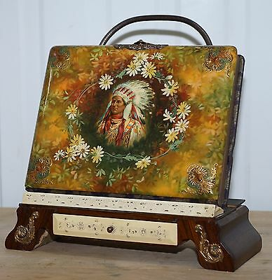 Original Antique Victorian Photo Album On Nice Rosewood Stand Native American