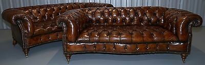 Restored Pair Of Serpentine Whiskey Brown Leather Victorian Chesterfield Sofas