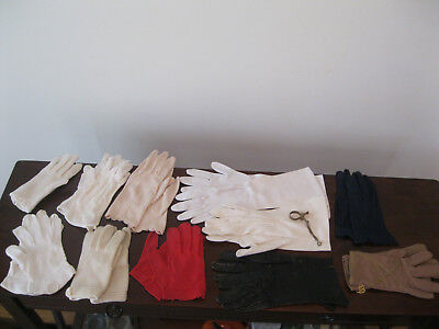 11 pairs vintage gloves - long short driving red blue white cotton lace + clip