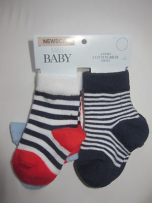 New Baby Boys Marks & Spencer Blue Red White Socks x 4 Pairs Newborn