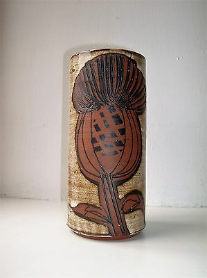 1970s English Briglin Pottery Vase with Thistle decoration
