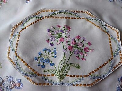 Vintage Hand Embroidered Cushion Cover /beautiful Delicate Florals