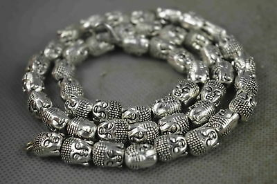 China Collectable Handwork Old Miao Silver Carve Buddha head Exorcism Necklace