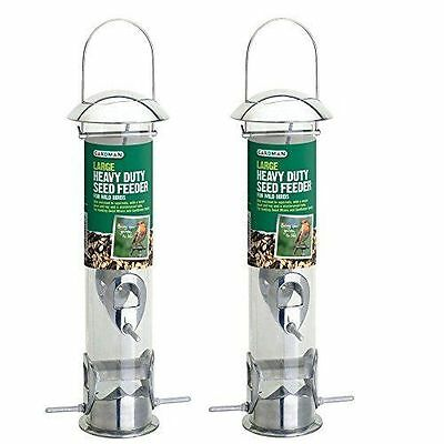 Set of 2 x Gardman Large Heavy Duty Hanging Steel Wild Bird Seed Feeders