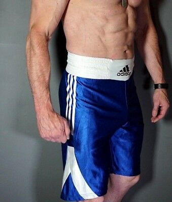 Vintage ADIDAS Boxer Boxing Shorts Satin Nylon Shiny Ibiza Glanz Wet look Blue M