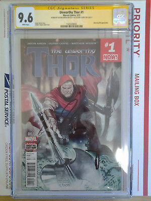 Unworthy Thor #1 Cgc Ss 9.6 Signed By Jason Aaron & Oliver Coipel