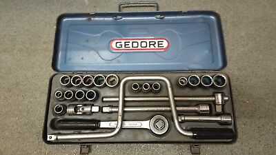 Old  vintage GEDORE socket set. Metric and af