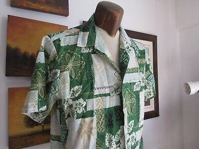 Islands Hawaiian Shirt Vtg Made in USA Palm Trees Unique Design Native Imagery M