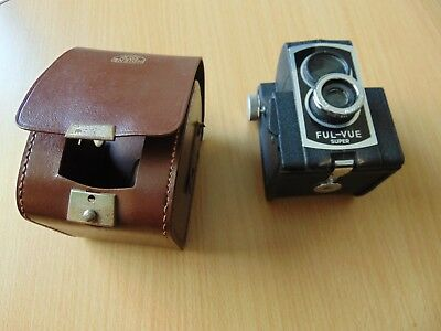 ROSS ENSIGN FUL-VUE SUPER 620 Roll Film METAL BOX CAMERA 1950's LEATHER CASED