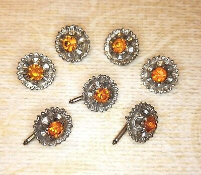 4 Vintage  Metal Jewel Buttons  & 3 Metal Jewel Button Studs Amber Color Stone