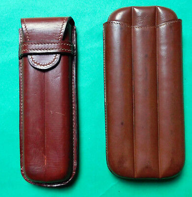 Two Vintage Leather Cigar Holders 4 And 2 Tube Made In England Pen Holder