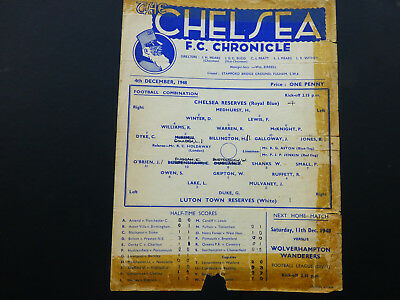 Chelsea reserve programme, Chelsea res v Luton Town res, 4th December 1948.