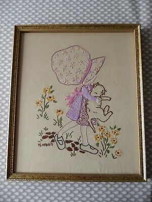 Vintage Hand Embroidered  Picture - Beautiful Little Holly Hobbie