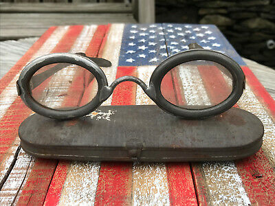 Unusual Antique All Metal Goggles Safety Goggles Side Shield Glasses Steampunk