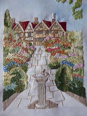 Vintage Hand Embroidered Picture Panel Stunning Tudor Cottage And Country Garden